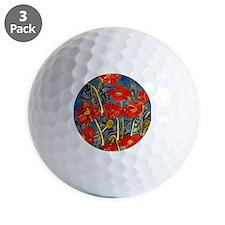 Poppy Swirls Golf Ball