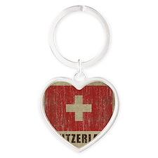 Vintage Switzerland Heart Keychain
