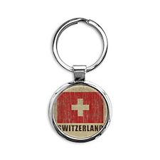 Vintage Switzerland Round Keychain