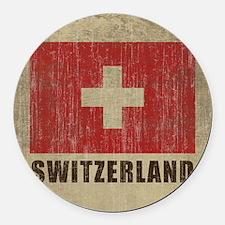 Vintage Switzerland Round Car Magnet