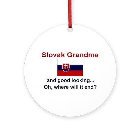Gd Lkg Slovak Grandma Ornament (Round)