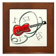 abstract guitar notes music red Framed Tile