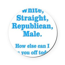 White Straight Republican Male Round Coaster