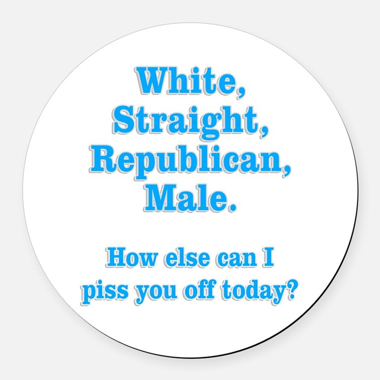 White Straight Republican Male Round Car Magnet