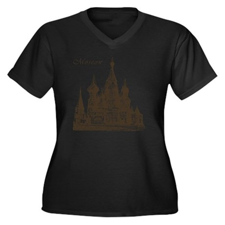 Retro Moscow Women's Plus Size Dark V-Neck T-Shirt