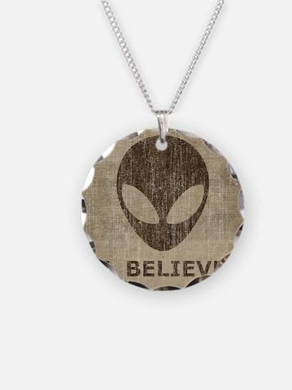 Vintage Alien Necklace Circle Charm