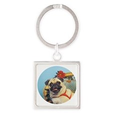 Pug in Wicker Chair Square Keychain