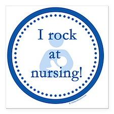 "I Rock at Nursing Square Car Magnet 3"" x 3"""