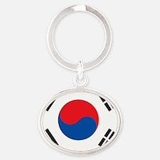 South Korea Flag Oval Keychain