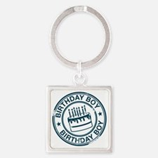 Birthday Boy dark blue Square Keychain