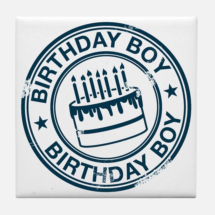 Birthday Boy dark blue Tile Coaster