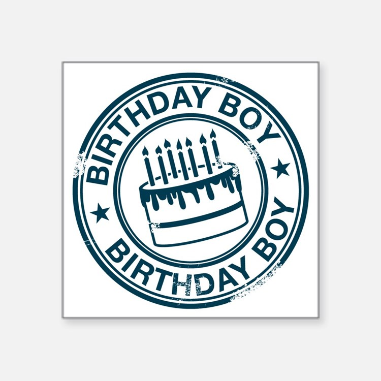 "Birthday Boy dark blue Square Sticker 3"" x 3"""