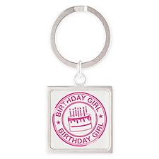 Birthday Girl Hot Pink Square Keychain