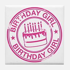 Birthday Girl Hot Pink Tile Coaster