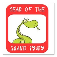 "Year of The Snake 1989 Square Car Magnet 3"" x 3"""