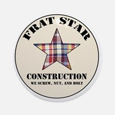 Frat Star Construction Round Ornament