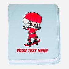 Skating Santa baby blanket