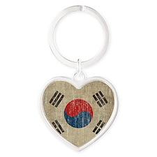 Vintage South Korea Flag Heart Keychain