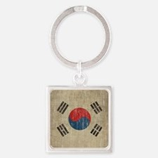 Vintage South Korea Flag Square Keychain