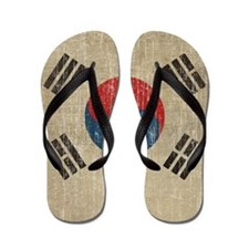 Vintage South Korea Flag Flip Flops