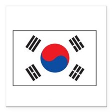 "South Korea Flag Square Car Magnet 3"" x 3"""
