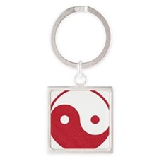 Vintage Yin Yang Square Keychain