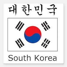 """South Korea Flag Square Car Magnet 3"""" x 3"""""""