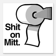 "Shit on Mitt Square Car Magnet 3"" x 3"""