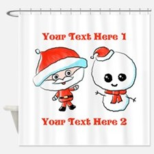 Cute Christmas Characters Shower Curtain