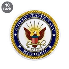 """USN Navy Retired Eagle 3.5"""" Button (10 pack)"""