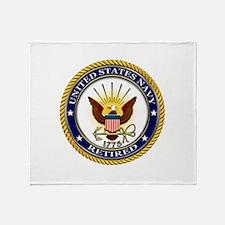 USN Navy Retired Eagle Throw Blanket