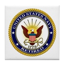 USN Navy Retired Eagle Tile Coaster