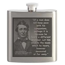 Thoreau Drummer Quote 2 Flask