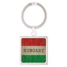 Vintage Hungary Square Keychain