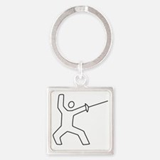 Fencing13.gif Square Keychain
