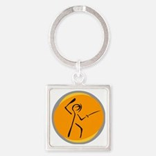 Fencing6.gif Square Keychain