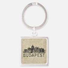 Vintage Budapest Square Keychain