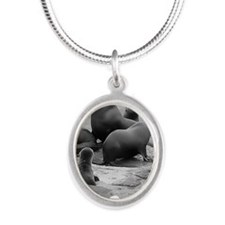 Seal Pup Silver Oval Necklace