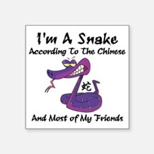 """Funny Year of Snake Square Sticker 3"""" x 3"""""""