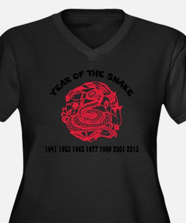 Year of Snak Women's Plus Size Dark V-Neck T-Shirt