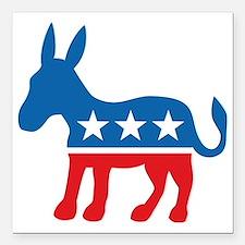 "Democrate Donkey Square Car Magnet 3"" x 3"""