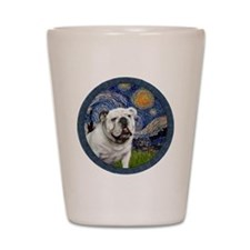 Starry Night - White English Bulldog Shot Glass