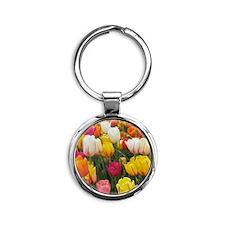 Spring Tulip Field Round Keychain