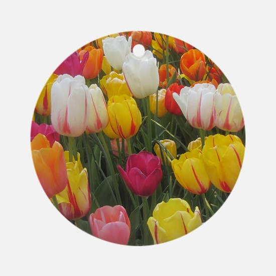Spring Tulip Field Round Ornament