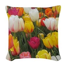Spring Tulip Field Woven Throw Pillow