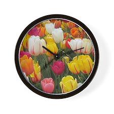 Spring Tulip Field Wall Clock