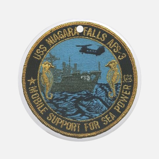 uss niagara falls patch transparent Round Ornament