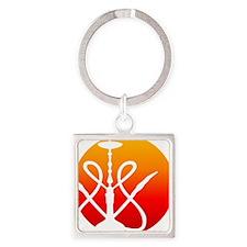 SPOT Hookah Mark RedOrange Square Keychain