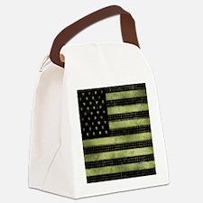 Grunge American Flag duvet design Canvas Lunch Bag