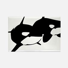 Orca, Killer Whale Couple Rectangle Magnet